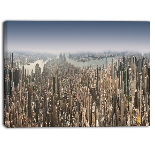 Designart - NYC 360 Degree Panorama - Cityscape Photography Canvas Print