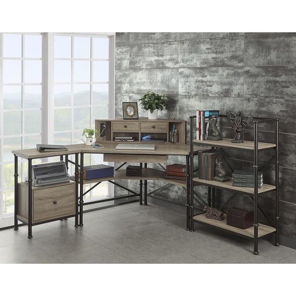 Griffeth Corner Wood And Steel Desk Hutch File Cabinet