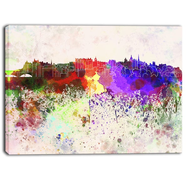 Designart - Edinburgh Skyline - Cityscape Canvas Artwork Print