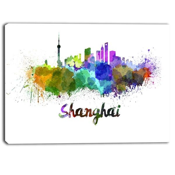 Designart - Shanghai Skyline - Cityscape Canvas Artwork Print