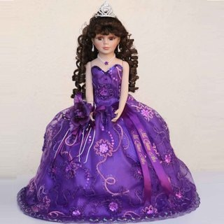 Cherish Crafts Purple 18-inch Porcelain Quinceanera Doll