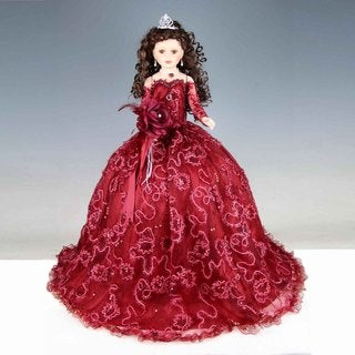 Cherish Crafts Red 28-inch Porcelain Quinceanera Doll