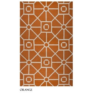 Rizzy Home Azzura Hill Collection Orange Geometric Accent Rug (5' x 7'6)