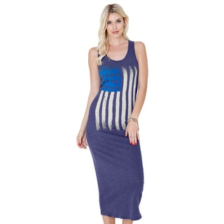 Tea N Rose Women's Cotton Blend Side Swept Flag Sleeveless Maxi Dress