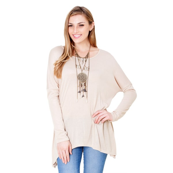 Amber Blue Women's Solid Long-Sleeve Blouse
