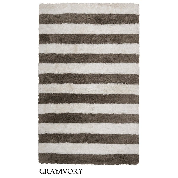 Rizzy Home Tabor Belle Collection Striped Polyester Shag Area Rug (8' x 10)
