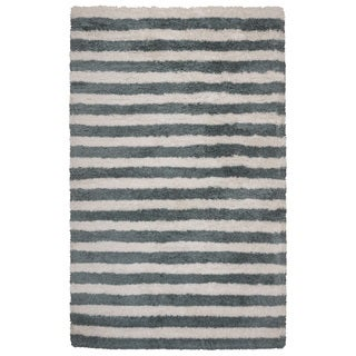 Rizzy Home Tabor Belle Collection Blue/ Ivory Striped Polyester Shag Area Rug (3'6 x 5'6)