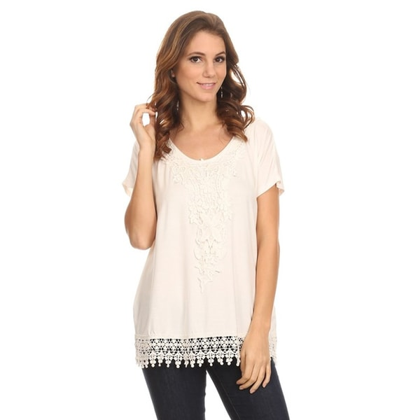 Moa Women's Crochet Lace Detail Top