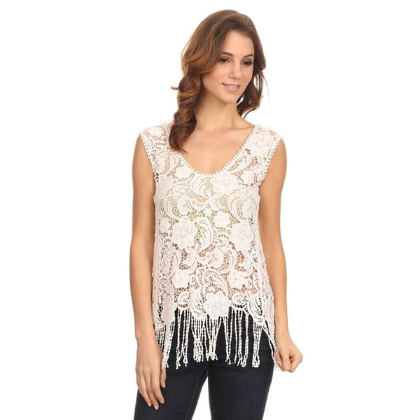 Moa Women's Crochet Fringe Top