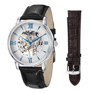 Stuhrling Original Men's Legacy Mechanical Watch Set with Black, and Brown Leather Srap