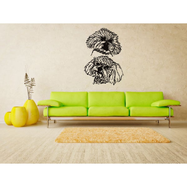 Bichon Frise Dog Funny faces Wall Art Sticker Decal