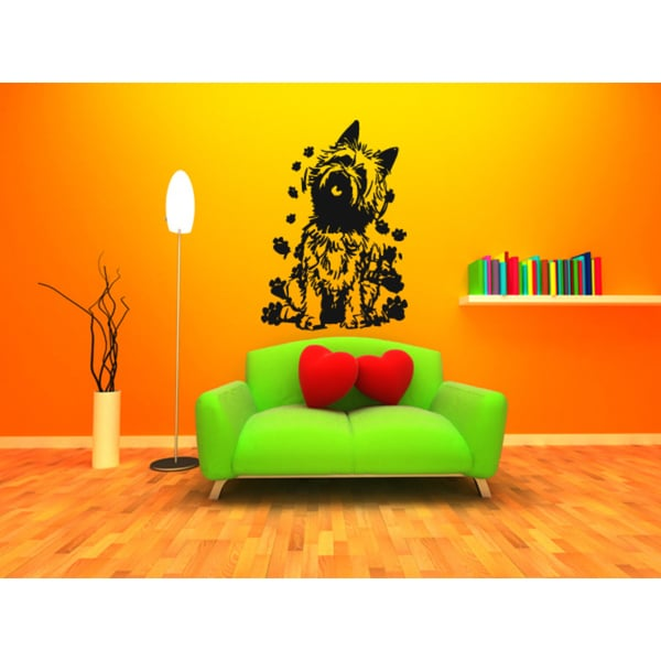 Cairn Terrier Dog Traces of Paws Wall Art Sticker Decal