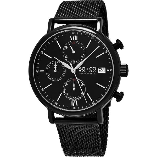 SO&CO New York Men's Monticello Quartz Black Stainless Steel Mesh Bracelet Watch