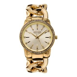 SO&CO New York Women's SoHo Quartz Goldtone Crystal Stainless Steel Link Bracelet Watch