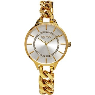 SO & CO New York Women's SoHo Goldtone Crystal Stainless Steel Link Bracelet Quartz Watch