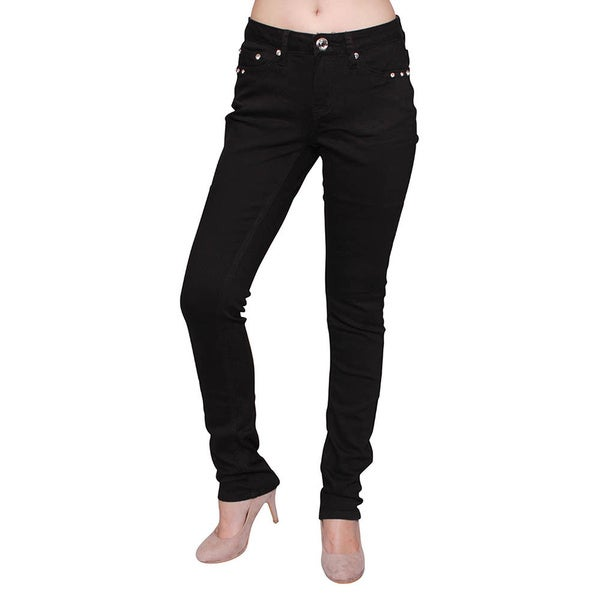 Sexy Couture Basic Dark Wash Mid-rise Rhinestone Skinny Jeans