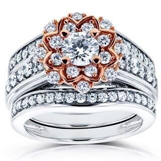Annello 14k Two Tone Gold 1 1/3ct TDW Diamond Lotus Flower 3-Piece Wedding Rings Set (H-I, I1-I2)