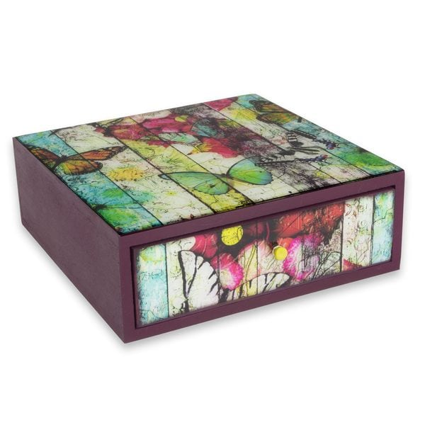 Handcrafted Decoupage 'Cubist Butterfly' Box (Mexico)