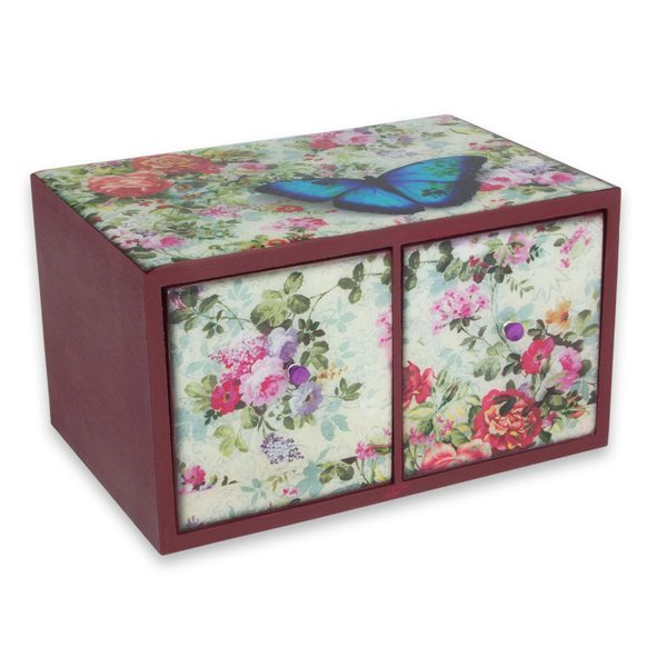 Handcrafted Decoupage 'Floral Butterfly Nostalgia' Box (Mexico)