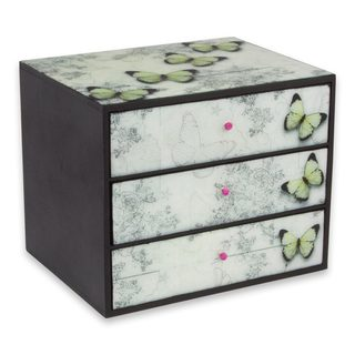 Handcrafted Decoupage 'Butterfly Whisper' Box (Mexico)