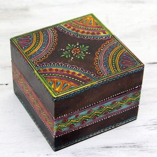 Handpainted Wood 'Festive Jodhpur' Decorative Box (India)