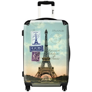 iKase Eiffel Tower Paris Vintage 24-inch Fashion Hardside Spinner Upright Suitcase