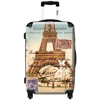 iKase Eiffel Tower Souvenir Vintage 24-inch Fashion Hardside Spinner Upright Suitcase