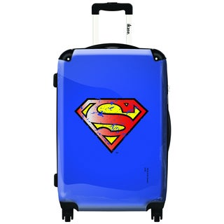 iKase Superman Blue Vintage 24-inch Fashion Hardside Spinner Upright Suitcase