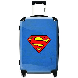 iKase Superman Red Logo 24-inch Fashion Hardside Spinner Upright Suitcase