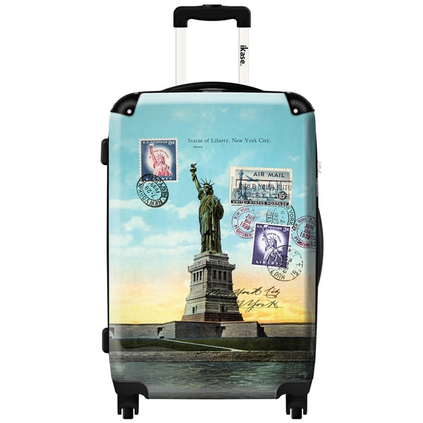 iKase Sky Blue Statue of Liberty 24-inch Fashion Hardside Spinner Upright Suitcase