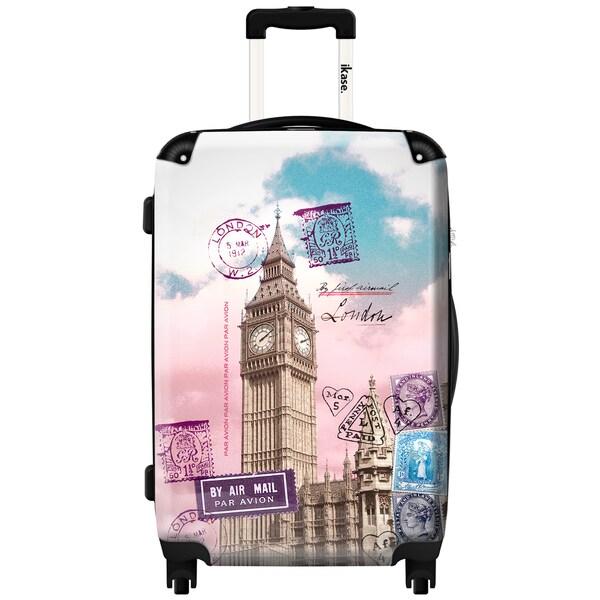 iKase Big Ben Post Card 24-inch Fashion Hardside Spinner Upright Suitcase