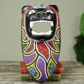Handcrafted Beaded Sese Wood 'Black Lion Spirit' Mask (Ghana)