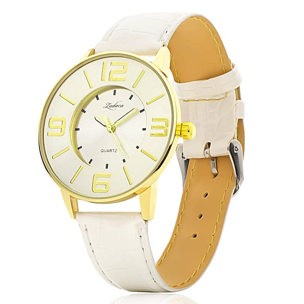 Zodaca Women Lady Fashion White Leather Gold 40mm Dial Band Analog Quartz Casual Watch