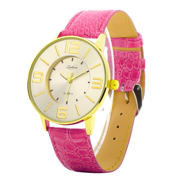 Zodaca Women Lady Fashion Hot Pink Leather Gold 40mm Dial Band Analog Quartz Casual Watch