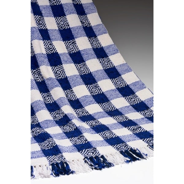 Blue Cotton Diamond Weave Throw Blanket