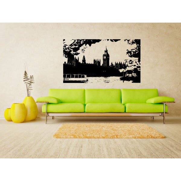 London Skyline City Street River Wall Art Sticker Decal