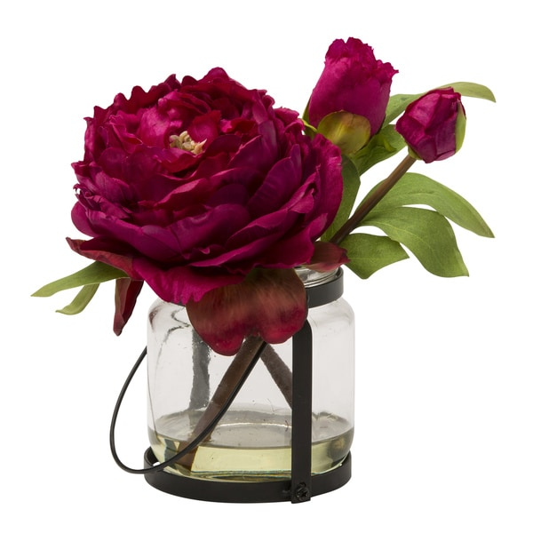 Blossom Collection 8.5-inch Pink Peony Cutting in Vase