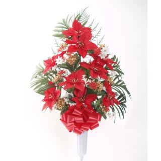 30-inch Poinsettia with Gold Berry Vase Arrangement