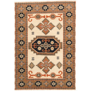 Herat Oriental Indo Hand-knotted Tribal Kazak Ivory/ Light Brown Wool Rug (4'2 x 6')
