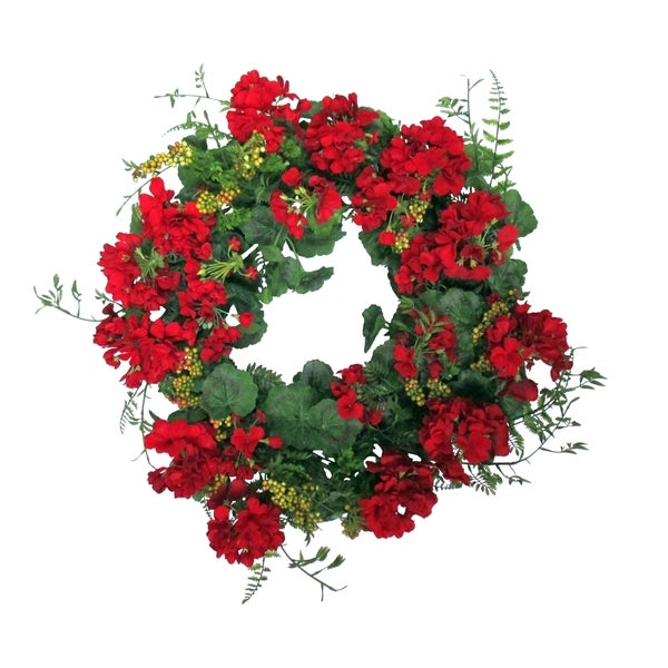 Blossom Collection 24-inch Geranium Wreath