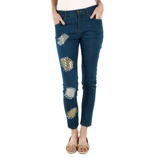 Firmiana Women's Blue Multi Patchwork Denim Pants
