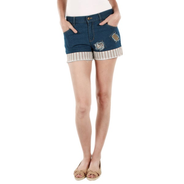 Firmiana Women's Blue Denim Patchwork Shorts