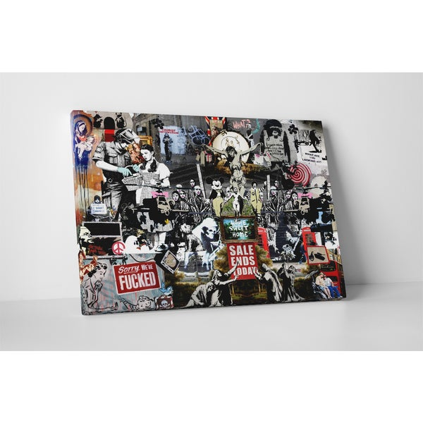 Banksy 'Banksy Collage' Gallery Wrapped Canvas Wall Art 17469384