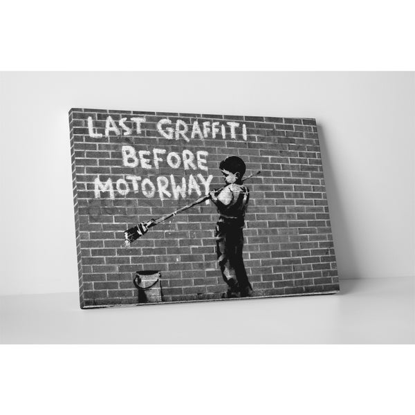 Banksy 'Last Graffiti Before Motorway' Gallery Wrapped Canvas Wall Art