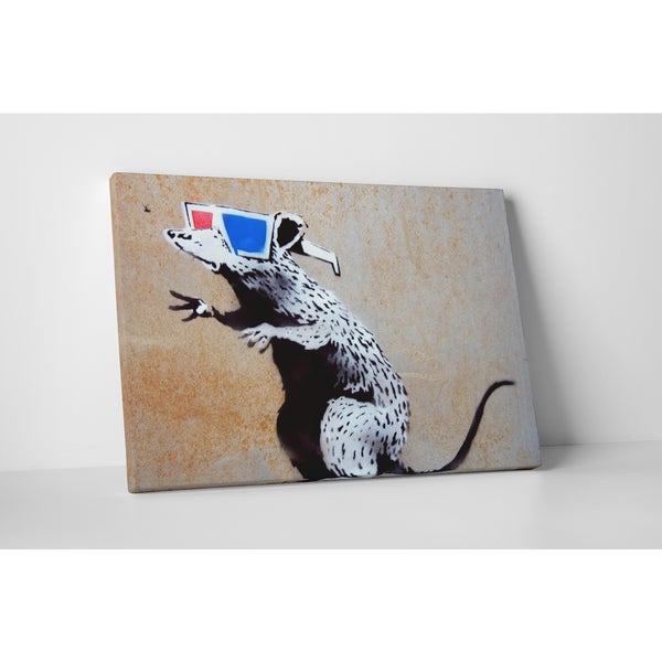 Banksy 'Rat with 3D Glasses' Gallery Wrapped Canvas Wall Art 17469434