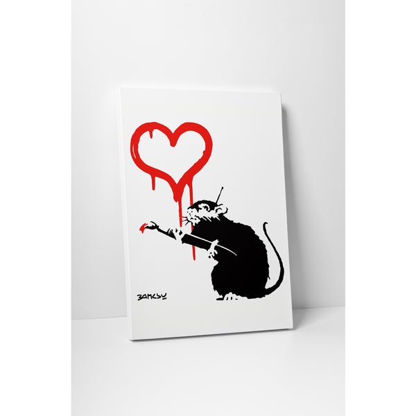 Banksy 'Love Rat' Gallery Wrapped Canvas Wall Art 17469467