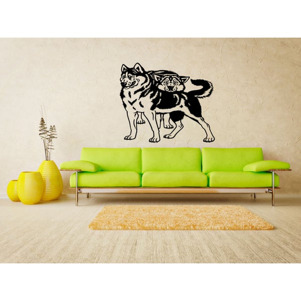 Siberian Husky Dog love couple Wall Art Sticker Decal