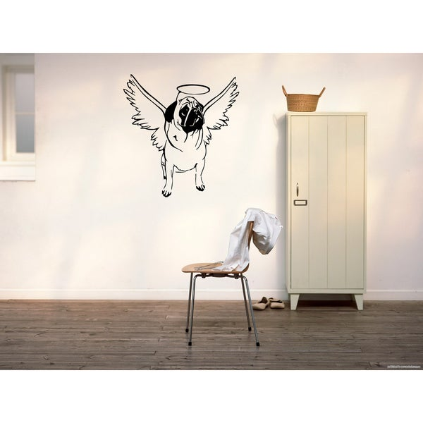 Pug Dog Angel Wings Wall Art Sticker Decal