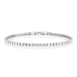 Rhodium-plated Brass Crystal Tennis Bracelet