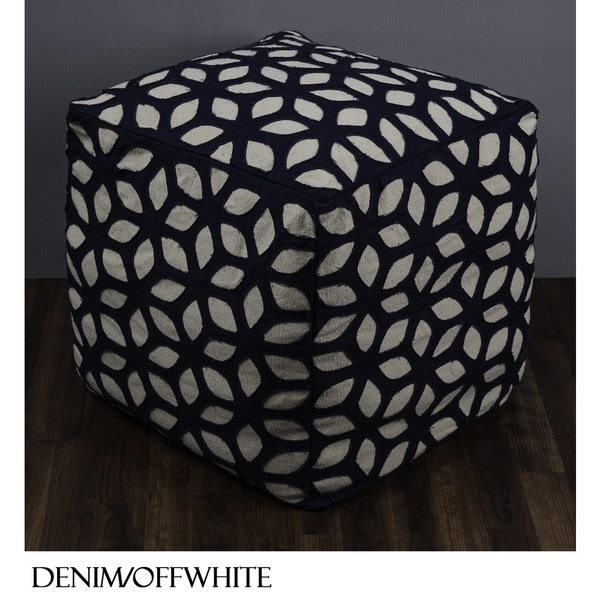 "Rizzy Home 19"" x 19"" Floral Cube Pouf"